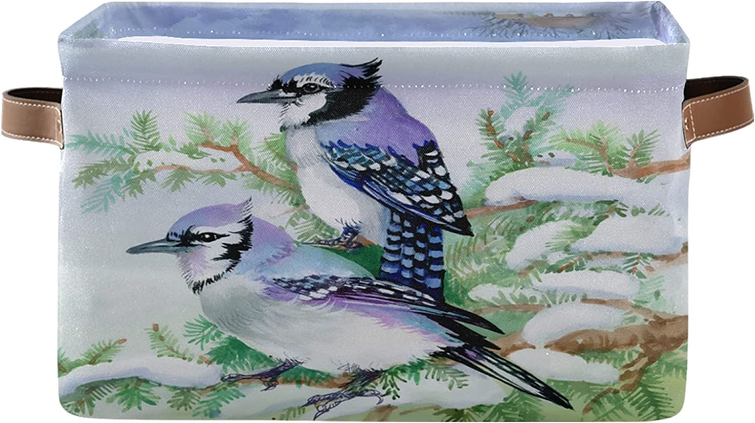 Foldable Square Storage Basket Shelf Bird Wit SEAL limited Limited time for free shipping product Watercolor