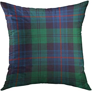 Mugod Decorative Throw Pillow Cover for Couch Sofa,Blue Plaid Armstrong Tartan Green Royal Home Decor Pillow case 18x18 Inch