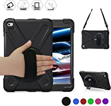 BRAECN for iPad Mini4 Shockpoof Case Three Layer Drop Protection Rugged Protective Heavy Duty iPad Case with a 360 Degree Swivel Stand/a Hand Strap and a Shoulder Strap for iPad Mini5/4 Case (Black)
