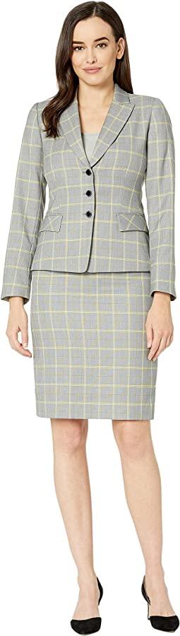Plaid Peak Lapel Jacket Skirt Suit