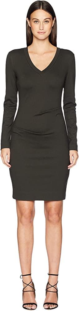 Ponte V-Neck Tuck Dress
