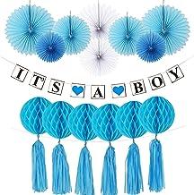 """Hivexagon Banderola """"It's A Boy"""" (Es niño) con Coloridos Abanicos de Papel Colmenas Redondas de Papel y Borlas de Papel Celebrar el Nacimiento de Bebes, Juego de Decoración para Niños"""