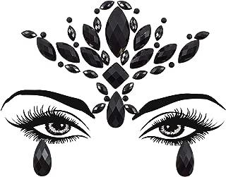 Black Lotus Face Jewels Tattoo Sticker Halloween Women Mermaid Face Gems Glitter Rhinestone Face Jewels Eyes Temporary Tattoos for Halloween Music Festival (Black-S095)