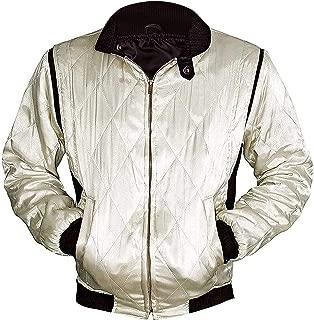 CHICAGO-FASHIONS Mens Motorcycle Ryan Driver Gosling Scorpio Logo Bomber Satin Jacket