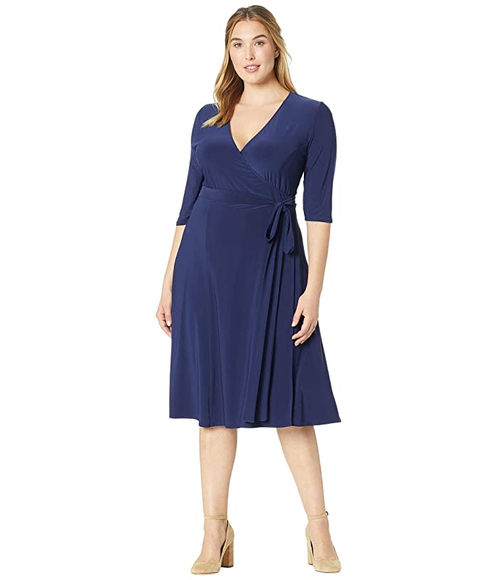 Kiyonna Essential Wrap Dress (Nouveau Navy) Women's Dress