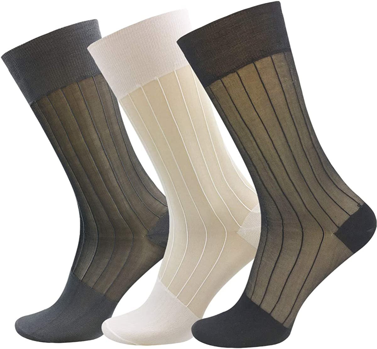 3 Pairs Mens Silk Sheer Socks Mid Calf OTC Ultra Thin Nylon Dress Sock Soft Daily Casual Stockings Work Business Sox