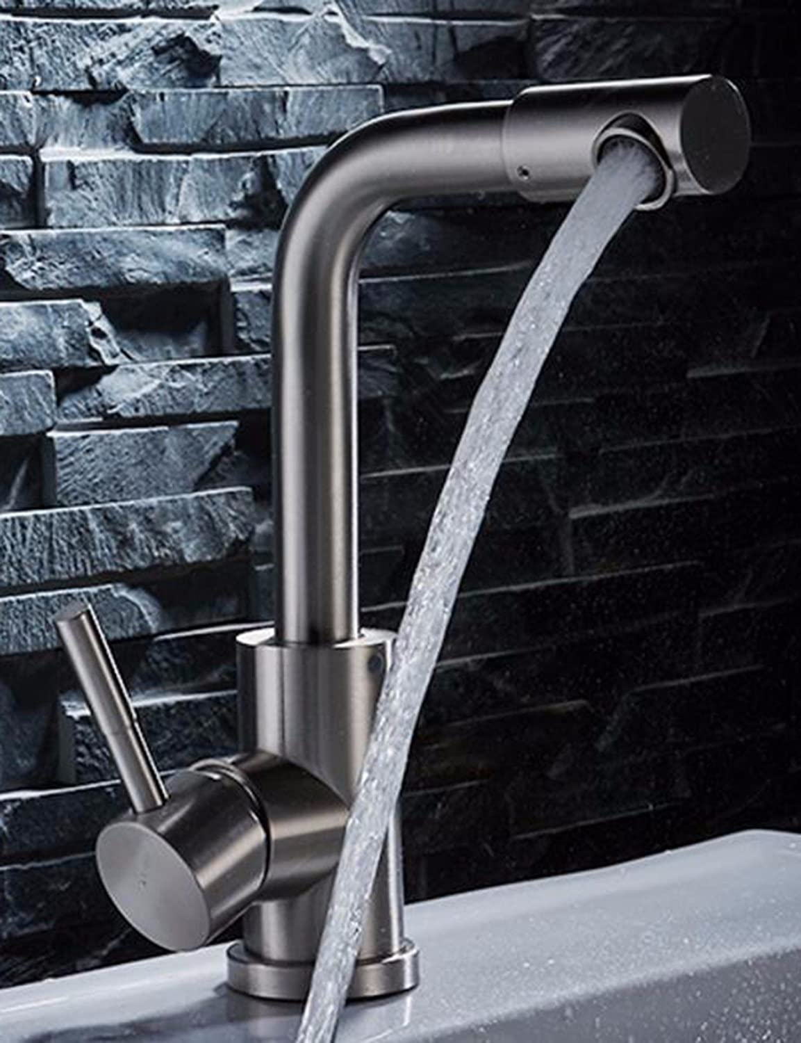 Hlluya Professional Sink Mixer Tap Kitchen Faucet 304 brushed stainless steel hot and cold wash basins wash basins turn on the bathroom sink basin Faucet