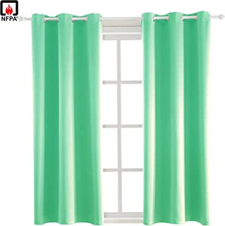 BEGOODTEX Inherent Flame Retardant Fire Resistant Room Window Treatment Set Blackout Curtains, Mint Green, 42W by 63L inch, 1 Panel