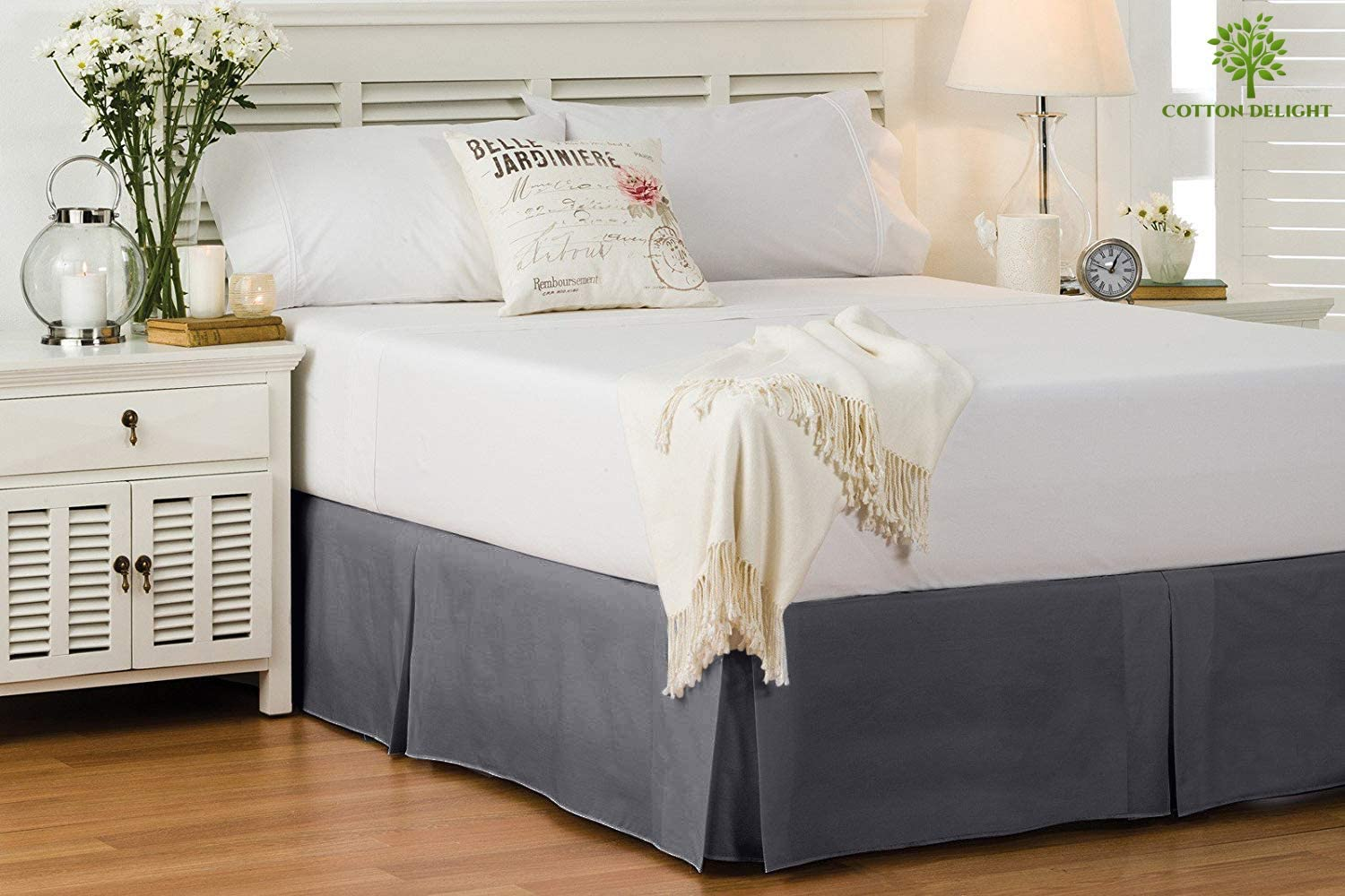 Cotton Delight All stores are sold Bed Skirt Queen Size Thre Natural 100% New sales 800