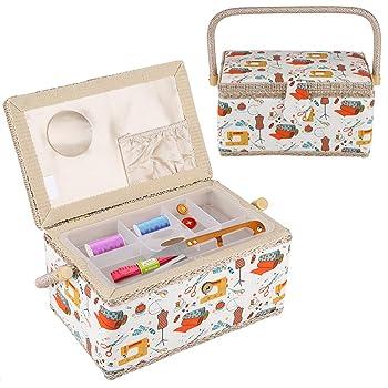Cesta de costura, caja de tela para manualidades, cesta organizadora de almacenamiento para el hogar: Amazon.es: Hogar