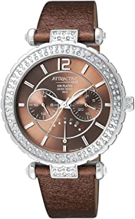 Q&Q Women's Brown Dial Leather Band Watch - DA79J302Y