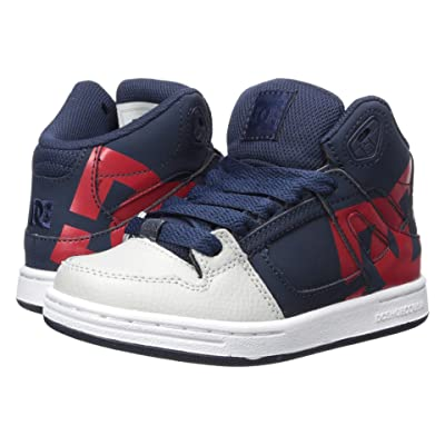 DC Kids Pure High-Top SP (Little Kid/Big Kid) (Navy/Grey) Boys Shoes