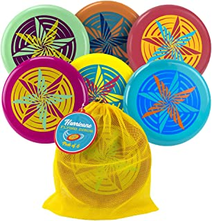 K-Roo Sports Hurricane Flying Discs - Pack of 6 in a Quick-Dry Mesh Carry Bag - Great for The Beach