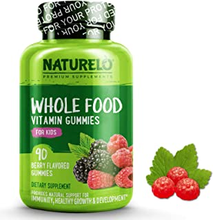 NATURELO Whole Food Vitamin Gummies for Kids - Best Chewable Gummy Multivitamin for Children - Organic Great Tasting Berry Flavor - Non-GMO - All Natural Vitamins, Minerals - 90 Vegan Gummies