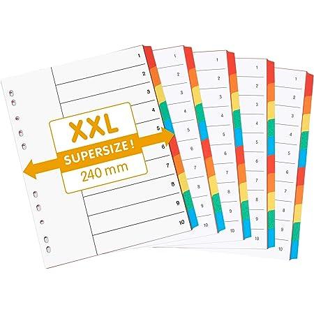 perfectline 5 pièces, 10intercalaires DIN-A4 EXTRA LARGE, couleur avec page de garde (5x10), 24 x 29,7 cm, XXL séparateurs registre, 5coloris, organisation parfaite dans le bureau pour classeur