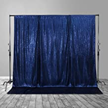 SquarePie Sequin Backdrop Opaque Non-Transparent Satin Photo Booth Photography Background Selfie Wall Video Live Sparkly Curtain for Wedding Patry 4FT x 7FT Navy Blue
