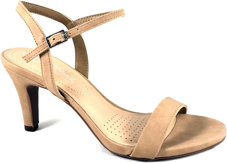 City Classified Real Women's Open Toe Buckle Closure High Heel