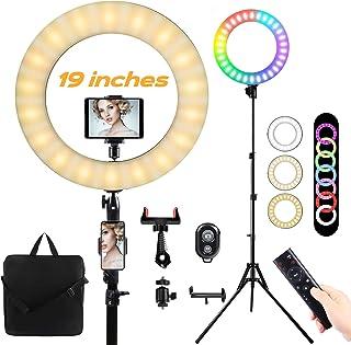 19 ''Anillo de luz LED con trípode Aro de luz Regulable10colores 23 Niveles de brillo 55W RGB FlashRing Light para maquill...