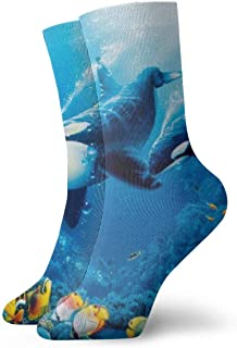 Elsaone, Equipo de calcetines coloridos de arrecife de coral para hombres, mujeres, niños, trekking, rendimiento, exteriores 30 cm (11.8 pulgadas)