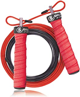 5BILLION Speed Jump Rope - Nature Handle - Adjustable with Ball Bearings - Workout for Double Unders, WOD, Outdoor, MMA & ...
