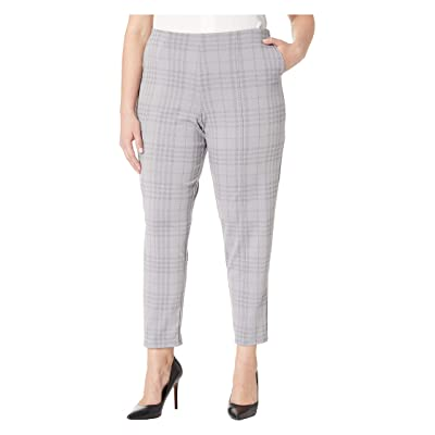 HUE Plus Size Seamed Luxe Ponte Skimmer Leggings (Grey/Printed Plaid) Women
