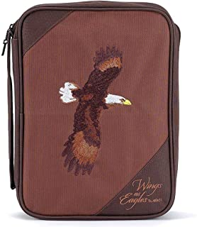 Brown Eagles Isaiah 40:31 Reinforced Polyester Bible Cover Case with Handle, X-Large