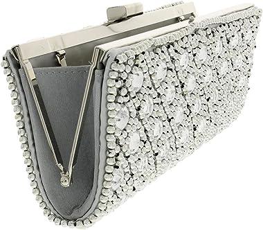 GRIBHA INTERNATIONAL–Staubsaugerbeutel/Hüllen–Abend Unterarmtasche Penny–Silver–-Damen