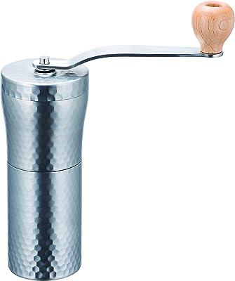 川崎合成樹脂 手挽きコーヒーミル シルバー 豆容量30g セラミック ステンレス コーヒーミル 槌目 MI-011