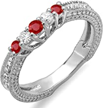 Dazzlingrock Collection 14k Round Ruby and White Diamond Ladies Anniversary Wedding Band Guard Enhancer Ring, White Gold