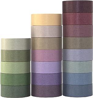 Lot de 20 rouleaux de ruban adhésif Washi - Multicolore - Pour bricolage, artisanat, décoration, emballage cadeau, scrapbo...