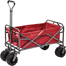Outdoor Innovations Heavy Duty Collapsible All Terrain Folding Beach Wagon Utility Cart (Red)