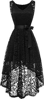 BeryLove Women's Floral Lace Hi-Lo Bridesmaid Dress V Neck Cocktail Formal Swing Dress