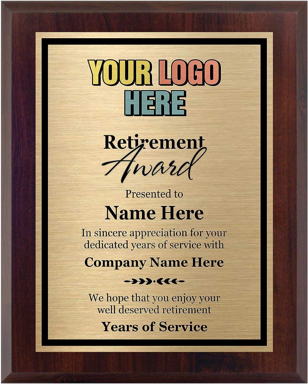 Awards4U Retirement Award - Add a Pe Plaque Custom Ranking TOP17 New color Logo 8x10