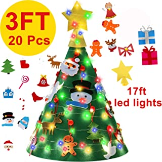 3 Ft Felt Christmas Tree for Toddler Kids - 3D DIY Christmas Tree +17 Ft LED Lights + 20 Pcs Detachable Xmas Ornaments Wall Door Hanging Decorations - 2019 New Year Gifts for Children Party Supplies