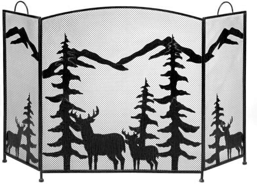 YUHUA-SHOP1983 Salvachispas 3 Panel de Pantalla Negro Chimenea Chispa de Pantalla Protector de la Cubierta de Elk árbol de Navidad de Metal Chimenea (Color : A)