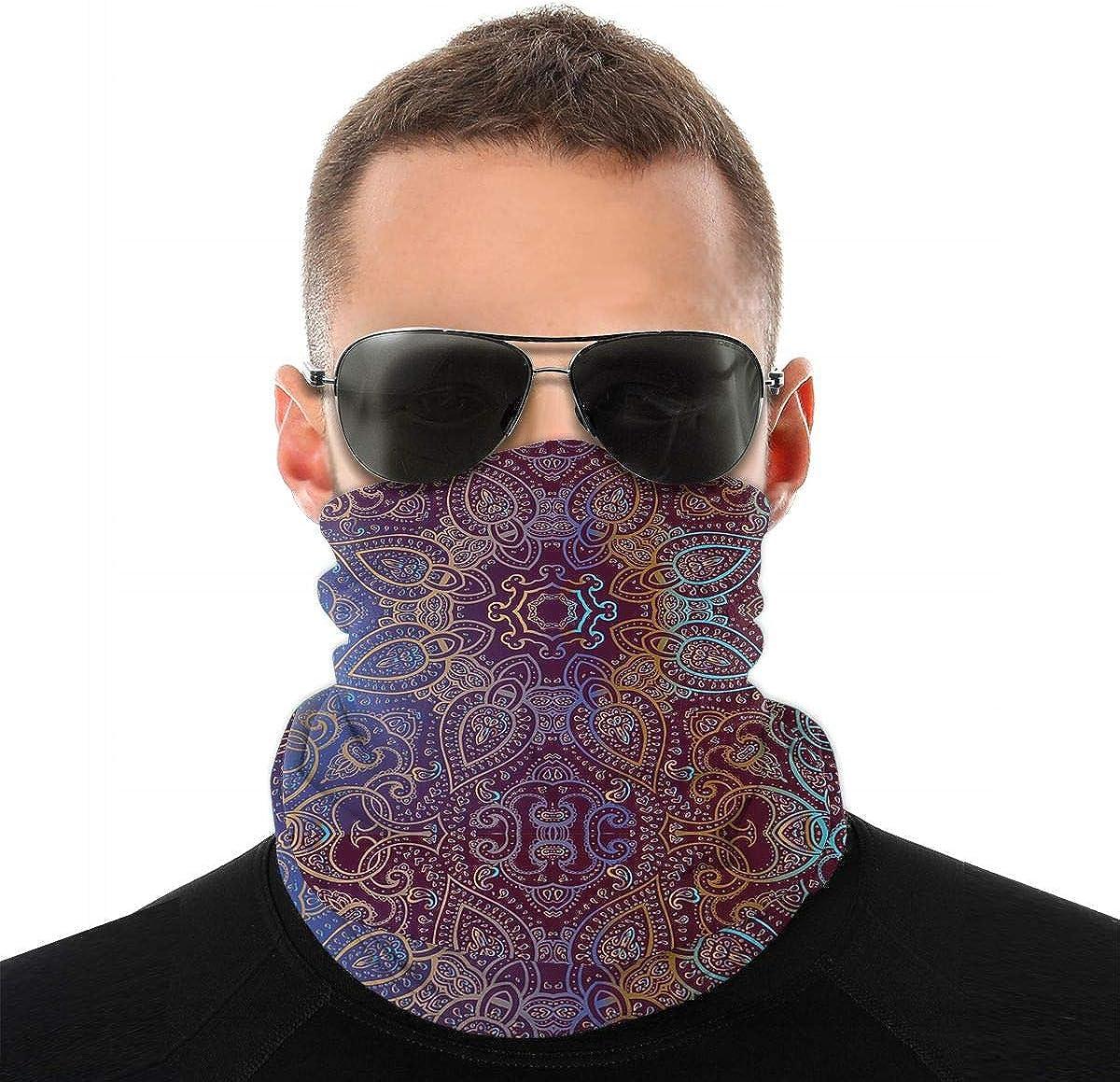 KiuLoam Mandala Indian Decorative Seamless Face Mask Bandanas Neck Gaiter for Men and Women, Multifunction Headband Scarf for Dust, Outdoors, Sports