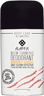 Alaffia - Neem Turmeric Activated Charcoal Deodorant, Odor Protection and Support from Shea Butter and Aloe Vera, Fair Trade, No Aluminum, No Parabens, Mandarin Ginger, 2.65 Ounces