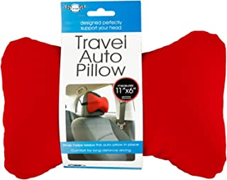 Kole Imports Travel Auto Pillow with Strap, OF434, red, 15.8x5x1