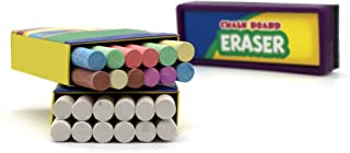 Emraw Eraser 12 White Chalk Dustless Chalk Non-Toxic 12 Color Chalkboard School Office..