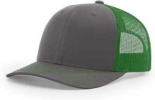 Richardson Charcoal/Kelly Green 112 Mesh Back Trucker Cap Snapback Hat w/THP No Sweat Headliner