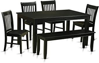 DUNO6-BLK-W 6 PC Dining room set- Dining Table and 4 Dining Chairs and also Bench