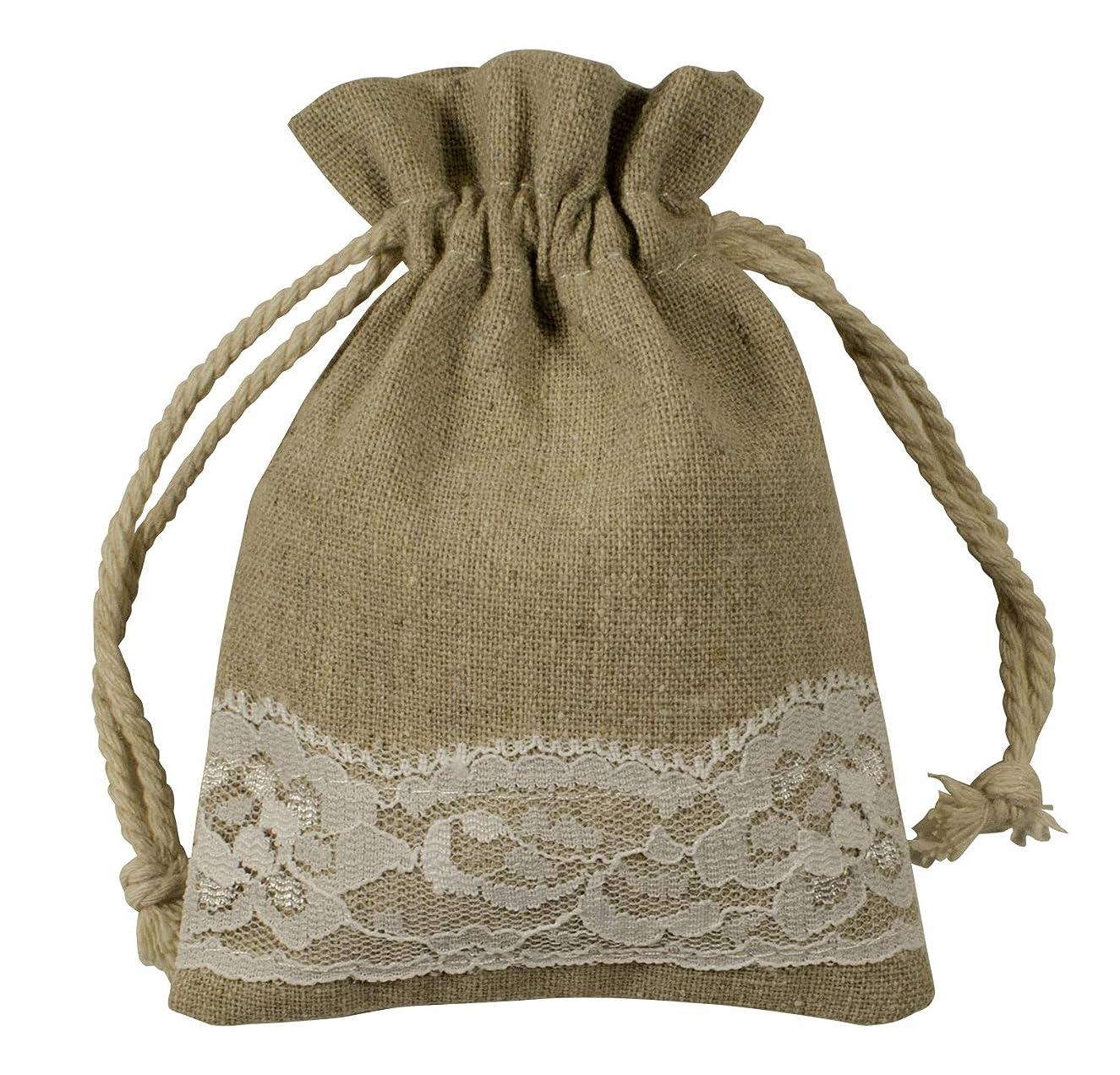 Burlap & Lace Drawstring Bag- 25Pack -3.5