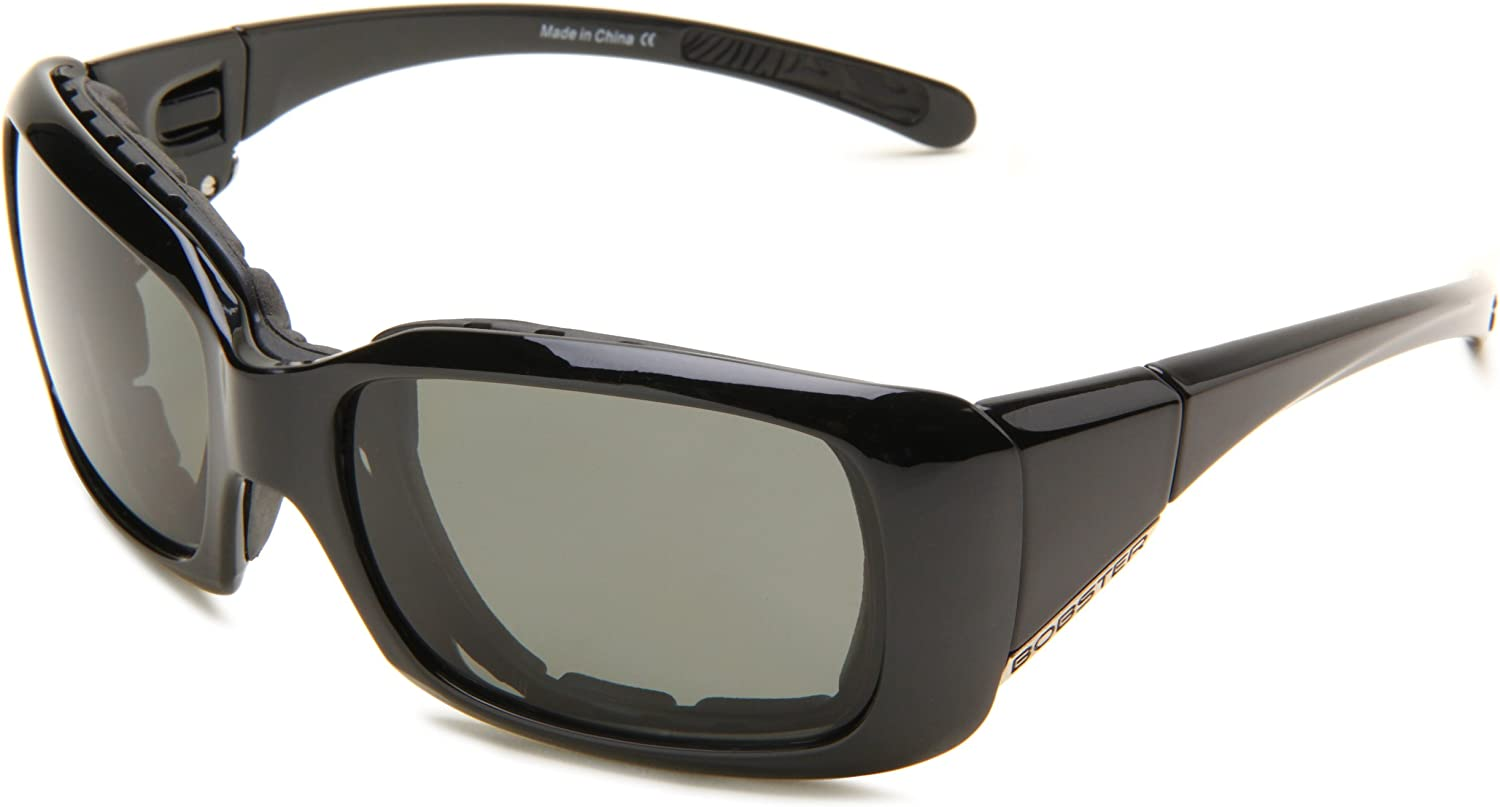 Bobster Ava Congreenible Polarized Rectangular Sunglasses,Black Frame Smoked Lens,One Size