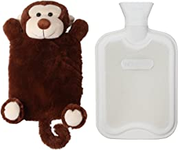 HomeTop Premium Classic Rubber Hot or Cold Water Bottle with Cute Stuffed Animal Cover (2 Liters, Brown Monkey)