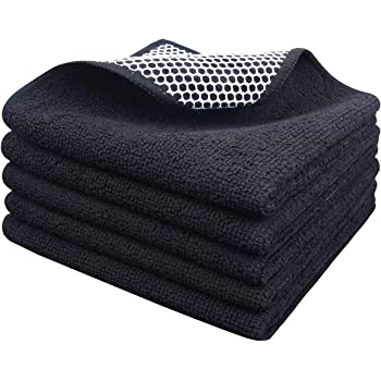 SINLAND Microfiber Dish Cloth Best Kitchen Cloths Cleaning Cloths with Poly Scour Side 12Inchx12Inch 5Pack, Black …