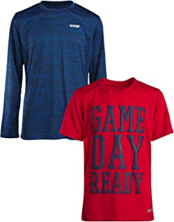 Boys Performance Quick Dry Athletic Sports Long Sleeve T-Shirt (2 Pack)
