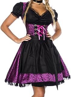 Unbekannt Dirndl Kleid Kostüm mit Bluse und Schürze aus Jacquard Stoff und Spitze Spitzenstoff Oktoberfest Dirndl lila/schwarz Oberteil dunkel