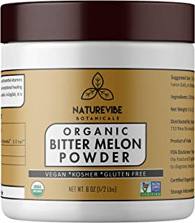 Naturevibe Botanicals Organic Bitter Melon Powder 8oz - Momordica Charantia | Non GMO & Gluten Free | Herbal Supplement