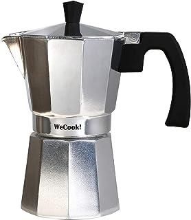Wecook Paola Cafetera Italiana de aluminio express, 1 taza café, junta de cierre de silicona, válvula de seguridad, Plata