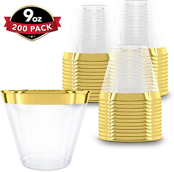 200 Gold Plastic Cups 9 Oz Hard Disposable Cups Plastic Wine Cups Plastic Cocktail Glasses Plastic Drinking Cups Bulk Party Cups Wedding Tumblers Clear Plastic Cups With Gold Rim